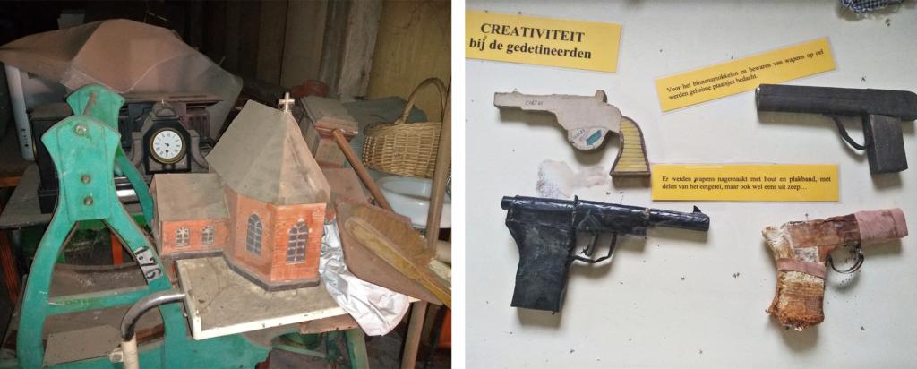 Links een foto van het depot van het Gevangenismuseum van Merksplas, rechts een foto van enkele valse pistolen die door gevangenen werden geknutseld.